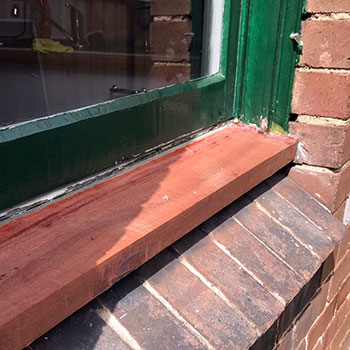 Replace hardwood sill.